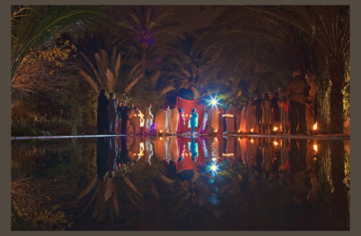 desert wedding offbeat wedding style casual outdoor reception at night