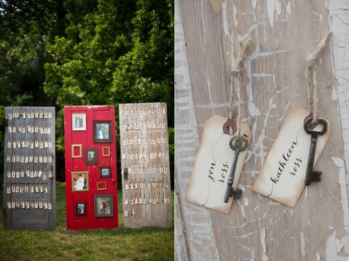 creative wedding reception ideas escort cards on vintage doors