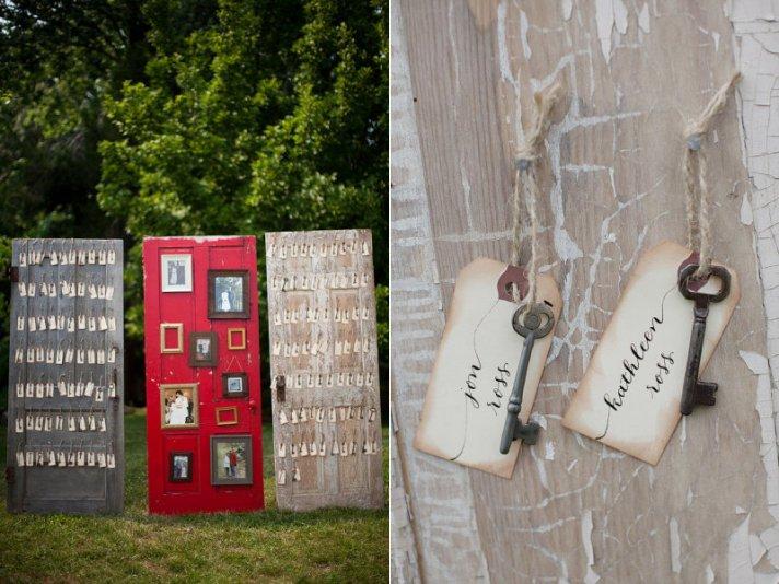 creative wedding reception ideas escort cards on vintage doors