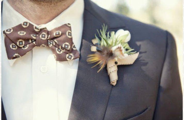 real wedding grooms attire bow tie outdoorsy