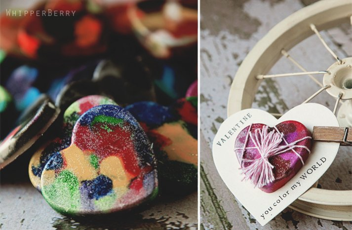 DIY wedding favors sparkly crayon hearts