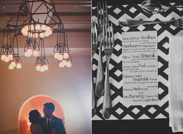 vintage meets modern wedding reception style bride groom first dance dinner menu
