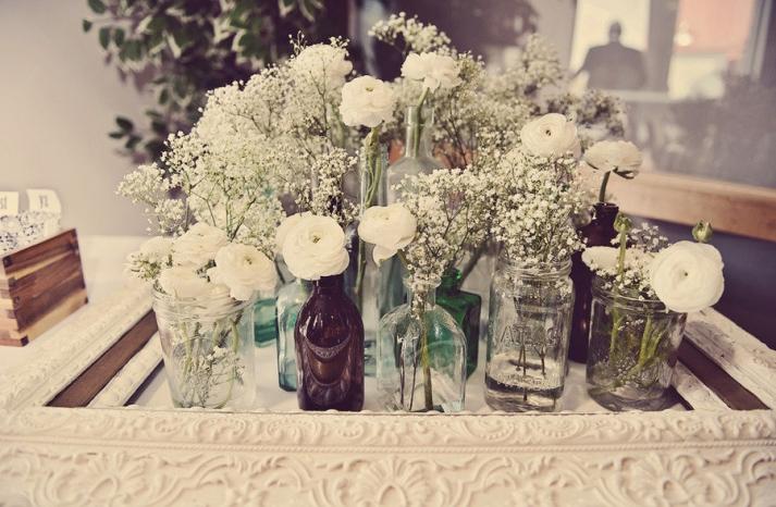 vintage wedding reception flowers white centerpieces mason jars