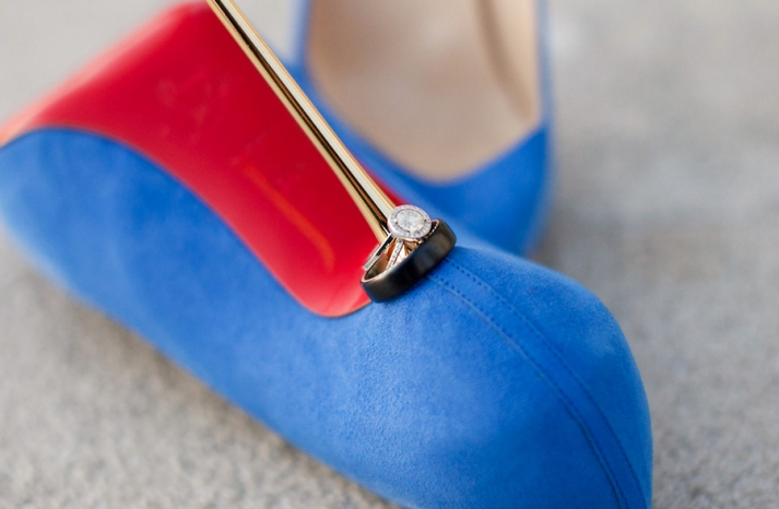 blue christian louboutin wedding heels shot with wedding rings