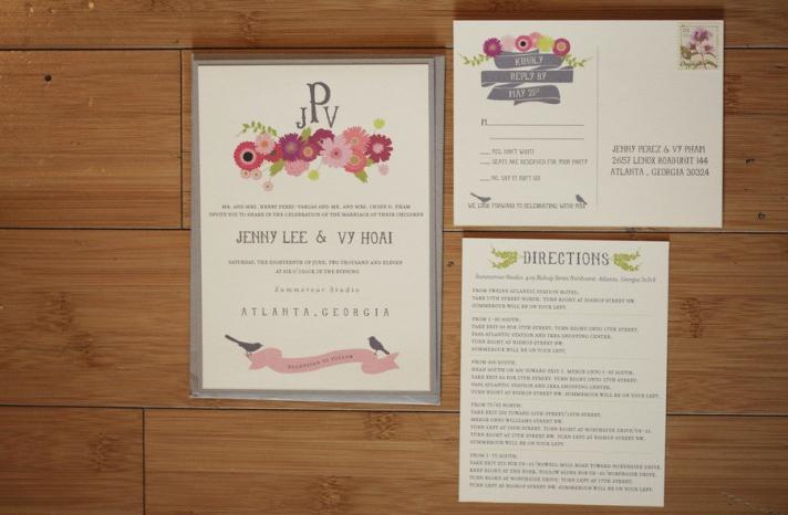 pretty wedding invitations floral motif with custom monogram