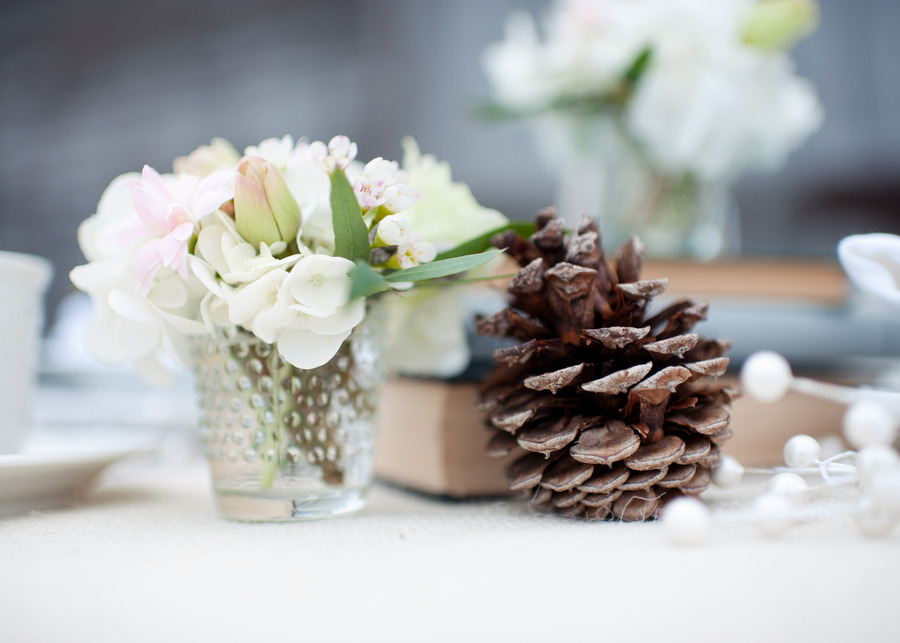 rustic winter wedding reception tabletop centerpiece
