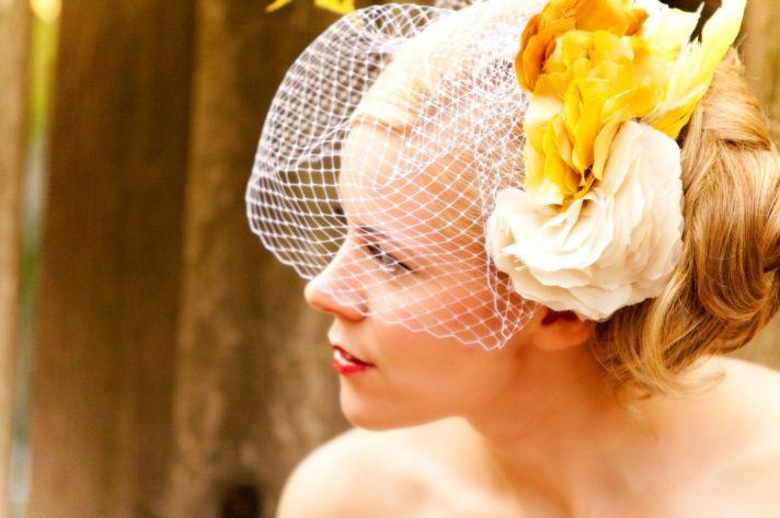 romantic wedding hair accessories birdcage veil yellow feathers