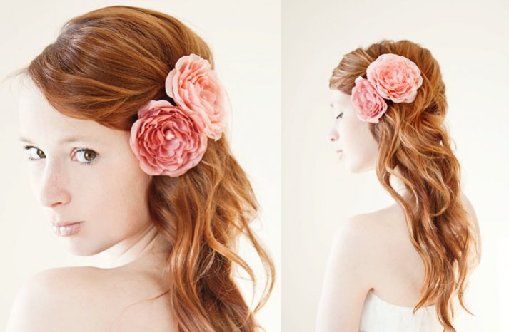 romantic wedding hair accessories pink wedding flowers