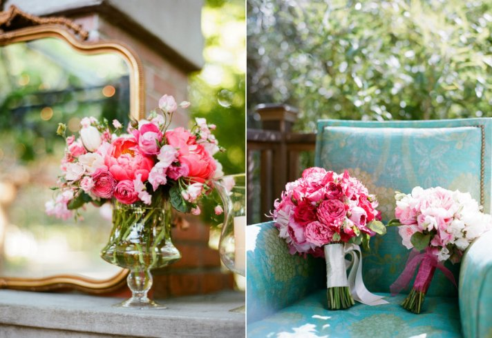 wedding color inspiration for brides pink green wedding flowers centerpieces