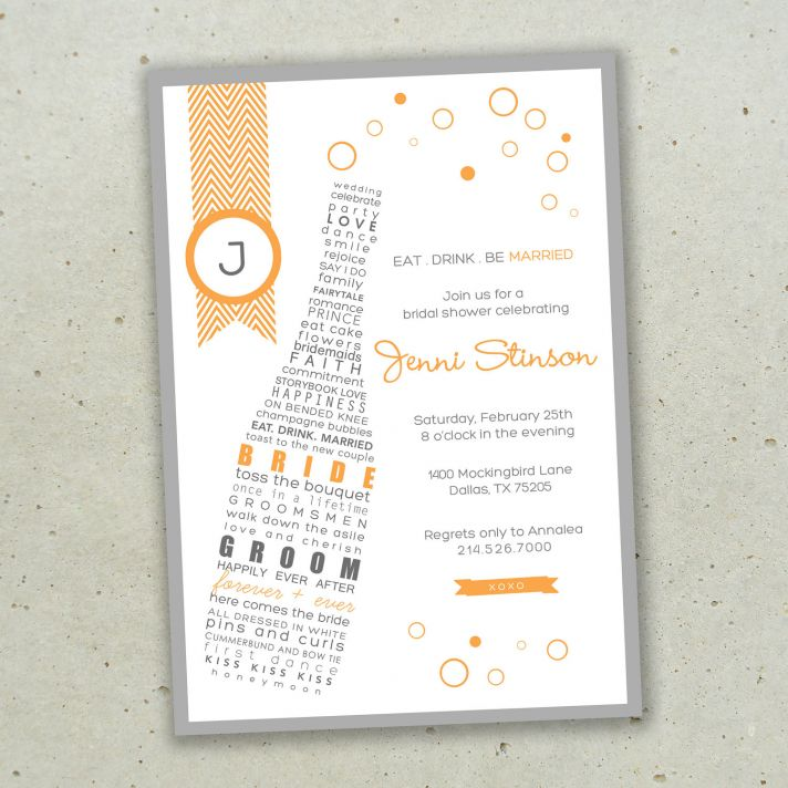 Bust Out The Bubbly Champagne Themed Wedding Invitations