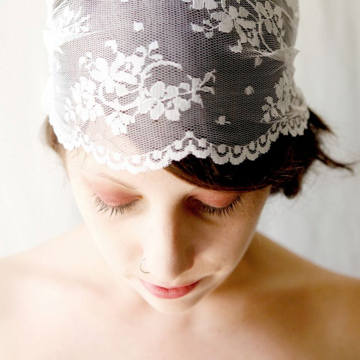 offbeat bridal style lace wedding cap