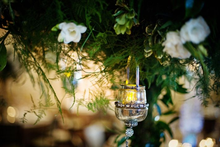 enchanted wedding details greenery reception centerpieces