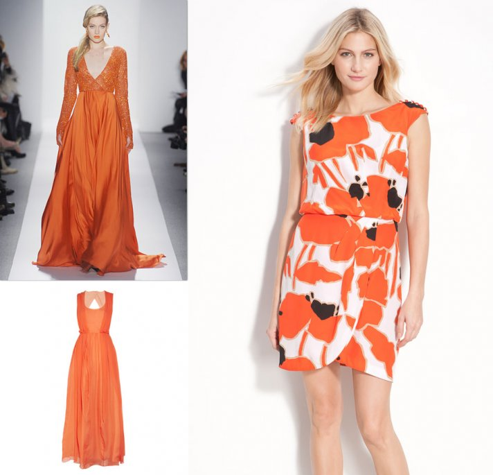 orange bridesmaids dresses fashion week 2012 wedding inspiration