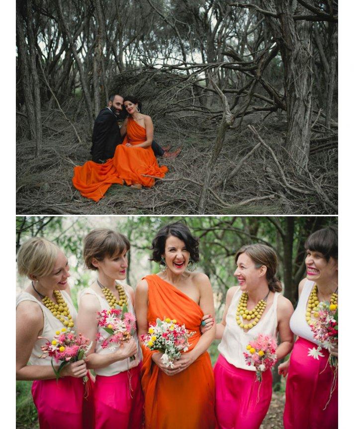 unique wedding dresses orange bridal gown one shoulder casual bridesmaids