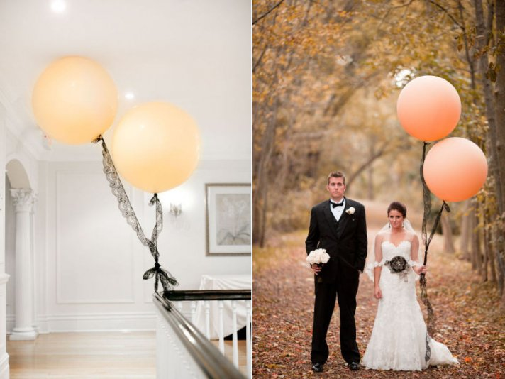 romantic wedding ideas balloon decor peach black lace