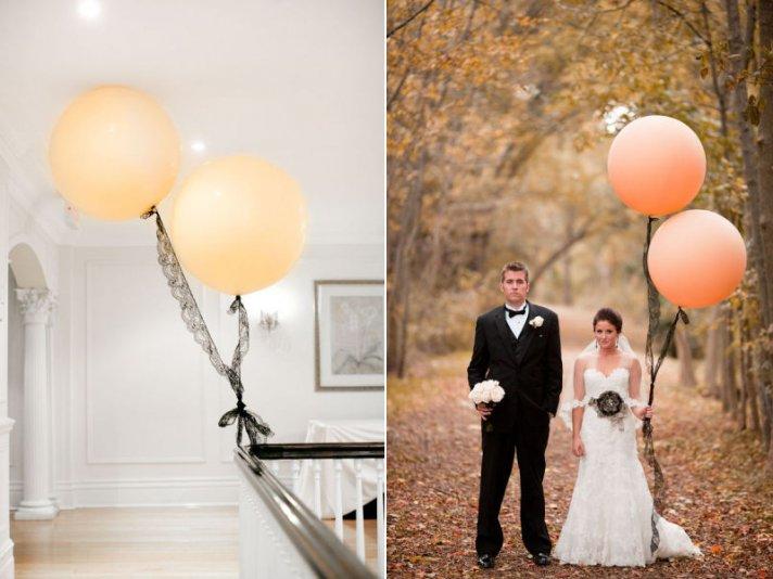 romantic wedding ideas balloon decor peach black lace