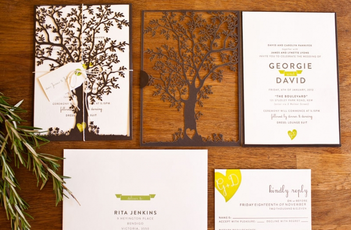 crush worthy wedding stationery Laser Cut Tree Wedding Invitations 1