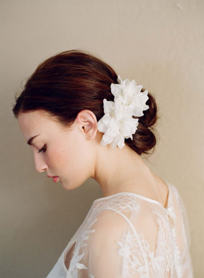 bridal hair accessories white silk wedding hair flowers