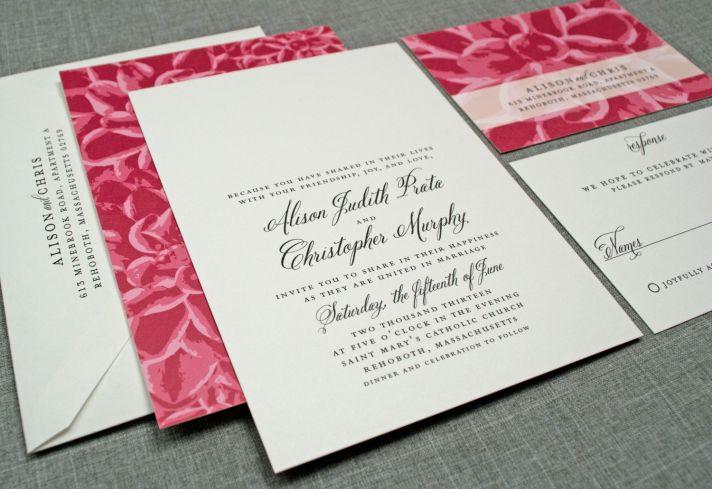 elegant wedding invitations floral print