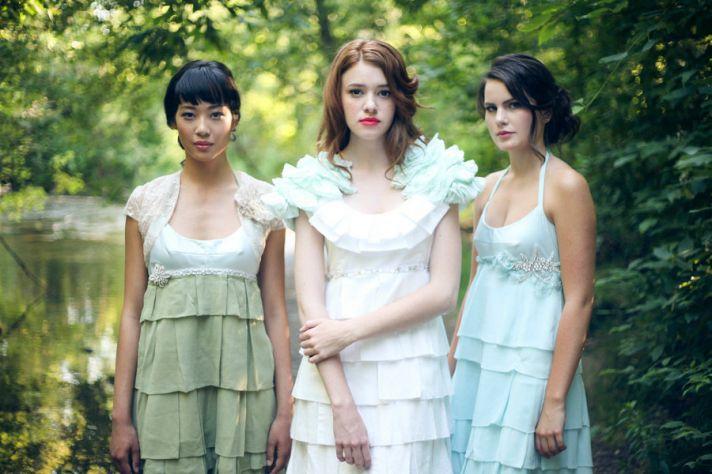 2012 bridesmaid dresses aqua green sage mix and match