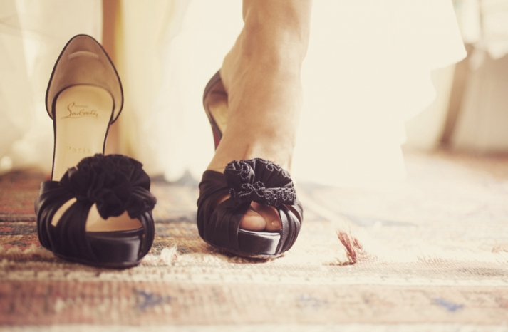 black wedding shoes christian louboutin peep toes
