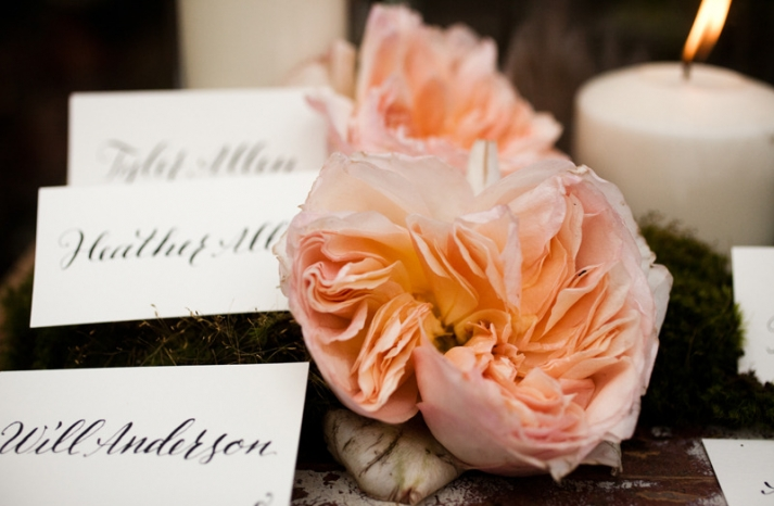 romantic wedding reception escort card display