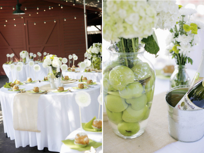 elegant wedding reception decor centerpieces using fruit green apples