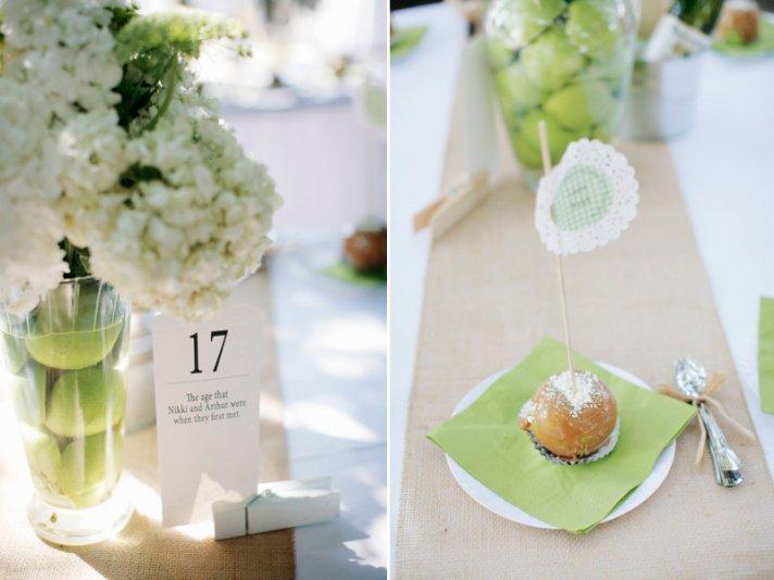 elegant wedding reception decor centerpieces using fruit green apples carmel apples as favors