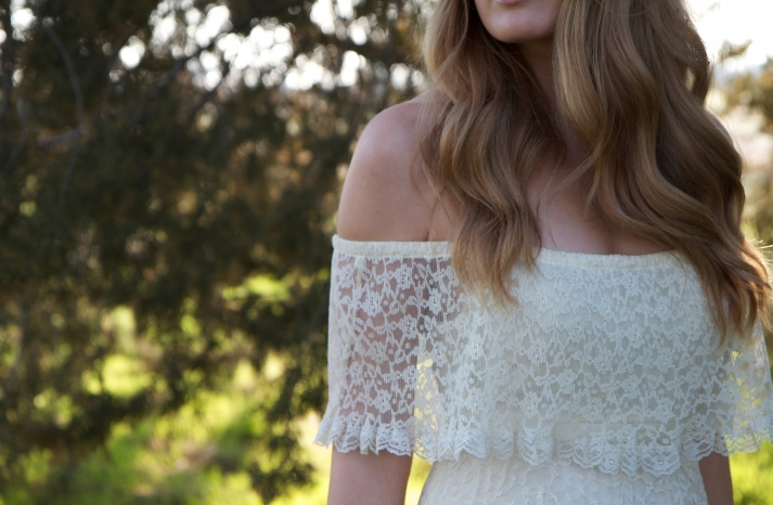 lace off the shoulder wedding dress vintage
