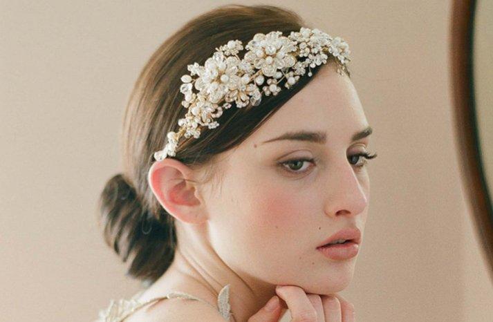 romantic wedding headband bridal hair accessory embellished