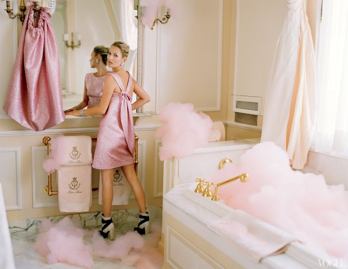 dramatic wedding inspiration kate moss elegant ballroom wedding venue little pink dress
