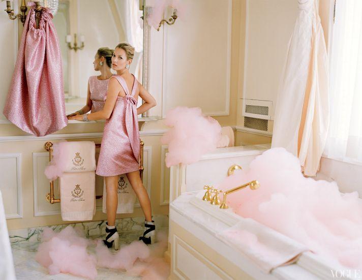 dramatic wedding inspiration kate moss elegant ballroom wedding venue little pink dress