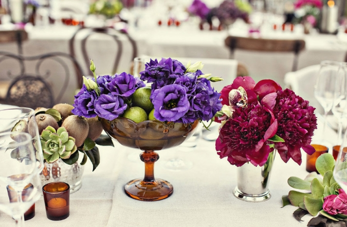 enchanted garden wedding reception centerpieces purple red
