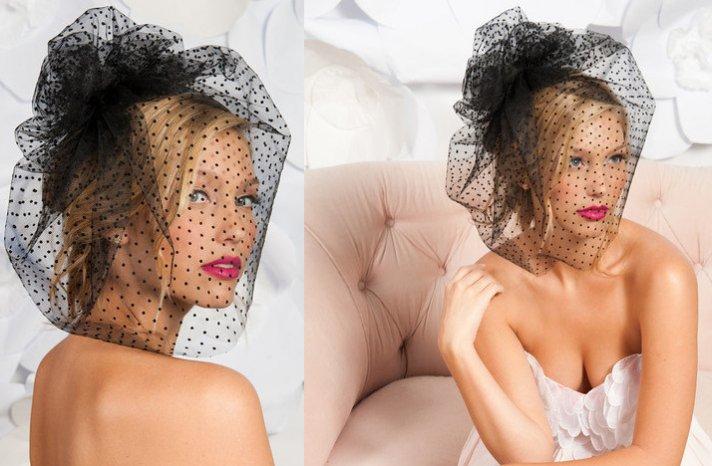 black bridal veil birdcage pouf