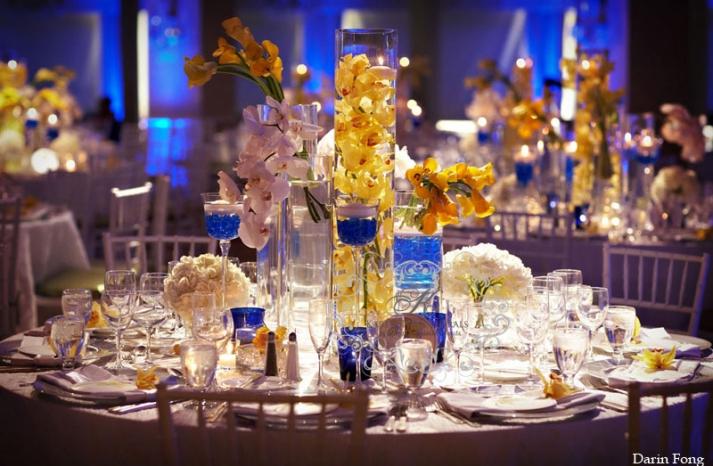 yellow blue modern wedding Hotel Del Coronado