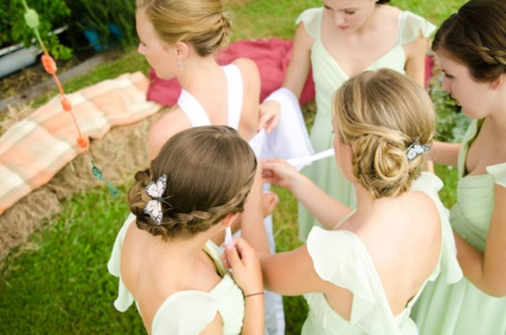 romantic outdoor wedding spring wedding inspiration romantic hairstyles bridesmaids