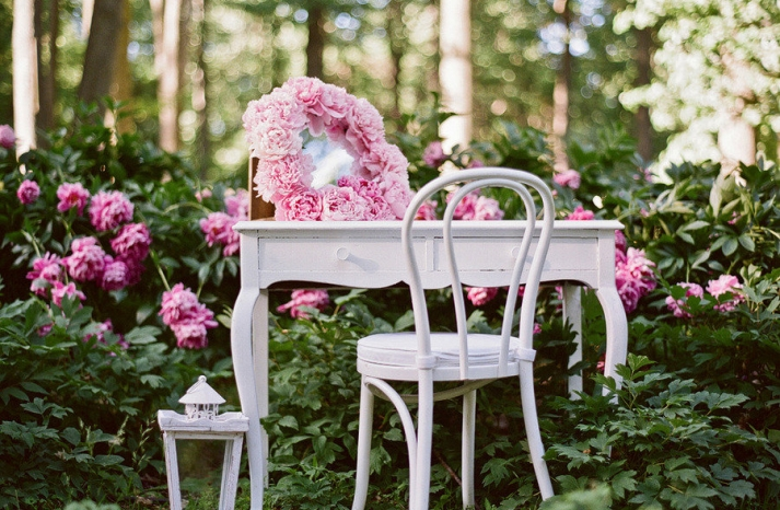 romantic spring wedding outdoor venue enchanted garden pink green