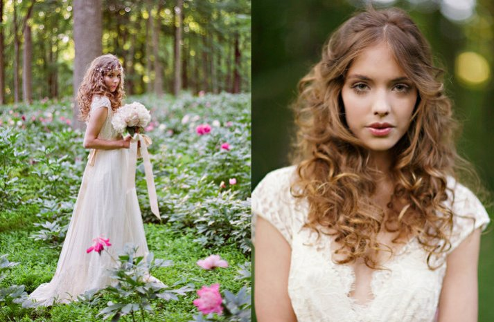 romantic bohemian bride outdoor wedding lace bridal gown