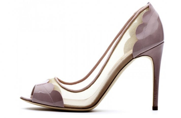splurge worthy wedding shoes purple illusion details