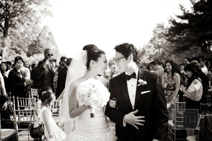bride groom look lovingly after wedding ceremony vows