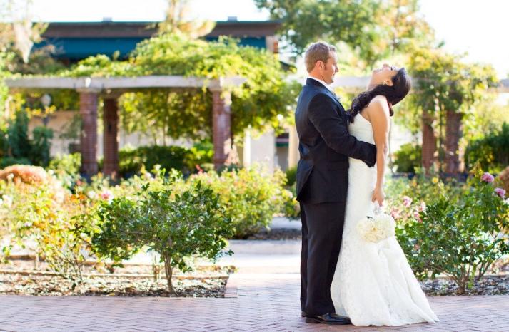 romantic winery wedding outdoor wedding venues bride groom laughing