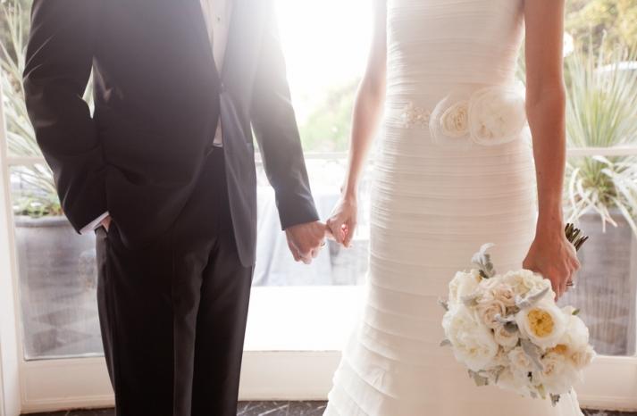romantic winery wedding outdoor wedding venues bride groom hold hands