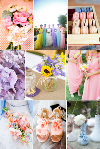 Romantic Easter Wedding Color Palette Lilac Pink Yellow Spring