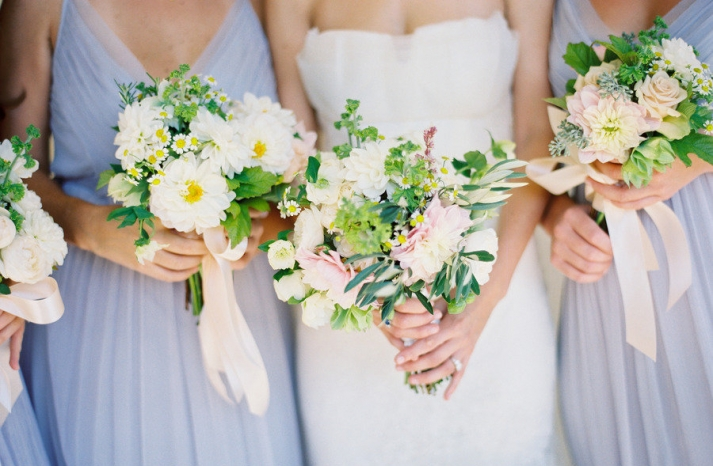 spring bridal bouquet wedding flowers for bridesmaids white green pastels