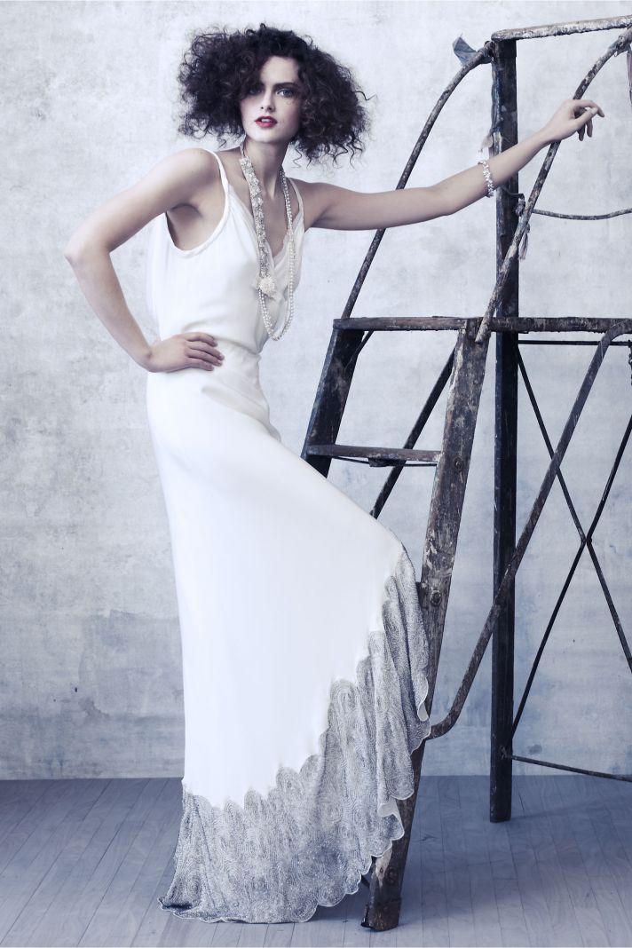 2012 wedding dresses BHLDN bridal gown silver embellished hem