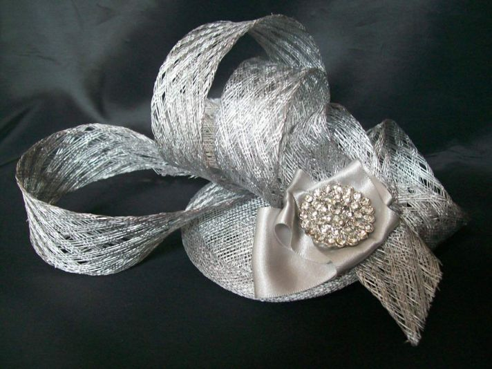 silver metallic wedding hat
