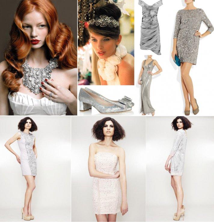 silver wedding inspiration little white wedding dresses bridesmaid frocks hair accessories