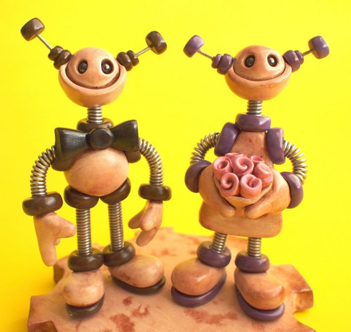 funky robot wedding cake toppers