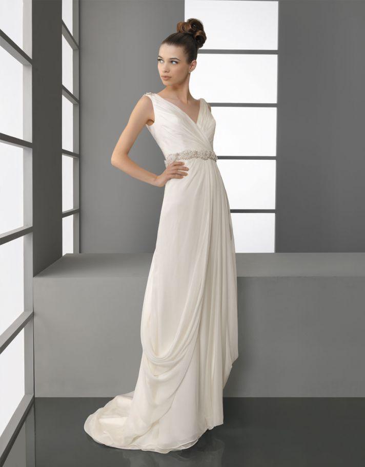 2012 wedding dress aire barcelona bridal gowns v neck draped