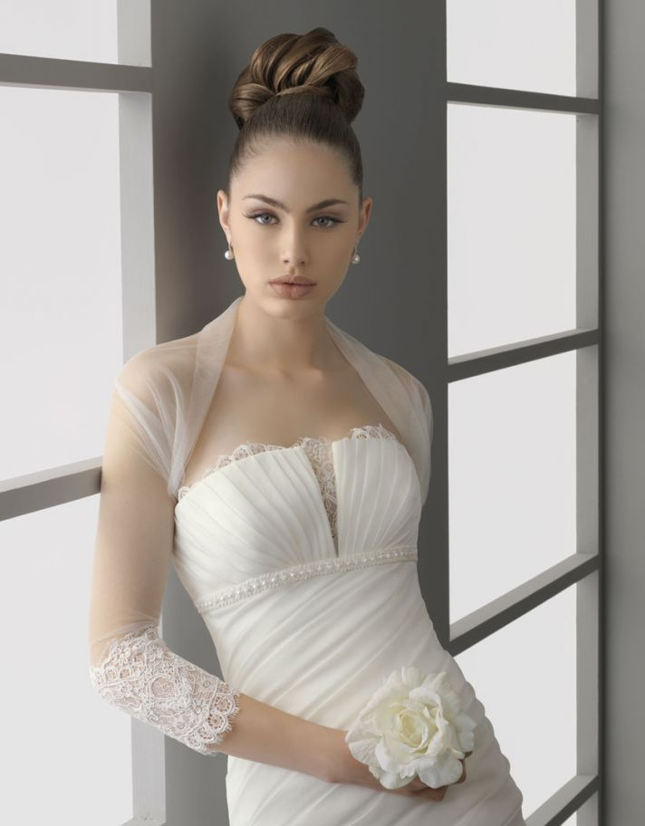 sheer bridal bolero three quarter length sleeves lace applique